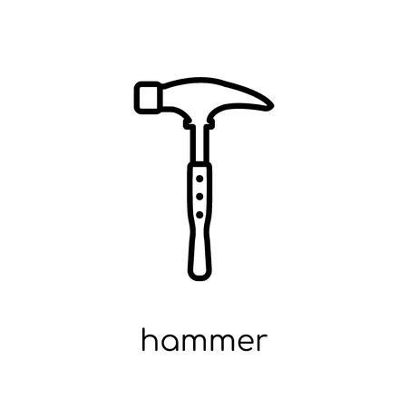 Hammer icon. Trendy modern flat linear vector Hammer icon on white background from thin line Construction collection, editable outline stroke vector illustration Standard-Bild - 112276580