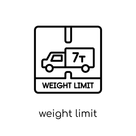 weight limit icon. Trendy modern flat linear vector weight limit icon on white background from thin line Delivery and logistic collection, outline vector illustration