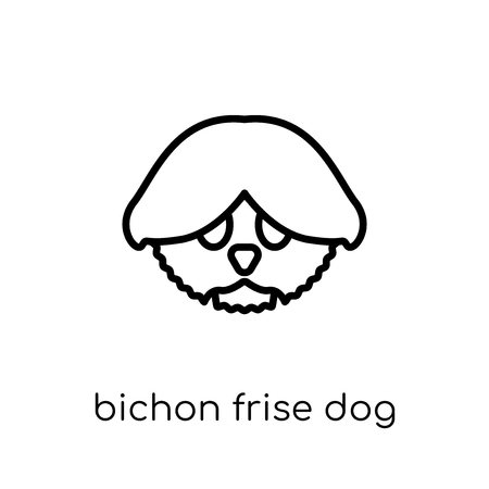 Bichon Frise dog icon. Trendy modern flat linear vector Bichon Frise dog icon on white background from thin line dogs collection, editable outline stroke vector illustration