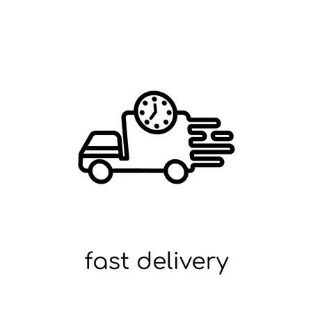 fast delivery icon. Trendy modern flat linear vector fast delivery icon on white background from thin line Delivery and logistic collection, outline vector illustration