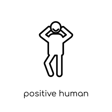 positive human icon. Trendy modern flat linear vector positive human icon on white background from thin line Feelings collection, editable outline stroke vector illustration