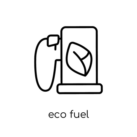 eco fuel icon. Trendy modern flat linear vector eco fuel icon on white background from thin line Ecology collection, outline vector illustration