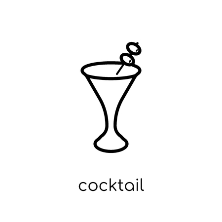 cocktail icon. Trendy modern flat linear vector cocktail icon on white background from thin line Drinks collection, outline vector illustration
