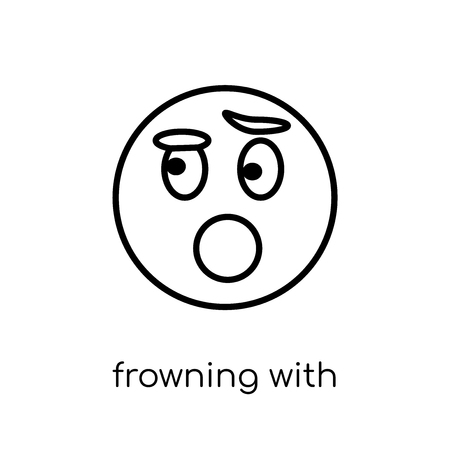 frowning with open mouth emoji icon. Trendy modern flat linear vector frowning with open mouth emoji icon on white background from thin line Emoji collection, outline vector illustration Illustration