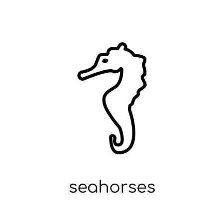 Seahorses icon. Trendy modern flat linear vector Seahorses icon on white background from thin line Fairy Tale collection, editable outline stroke vector illustration Foto de archivo - 112235943