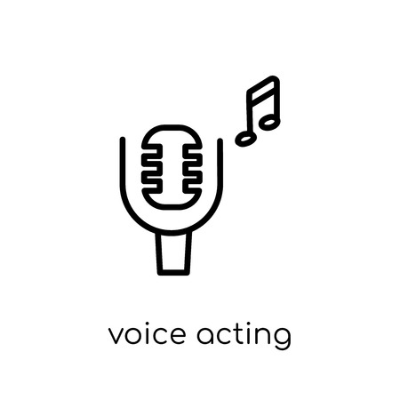 voice acting icon. Trendy modern flat linear vector voice acting icon on white background from thin line Entertainment collection, outline vector illustration