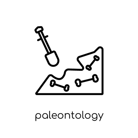 Paleontology icon. Trendy modern flat linear vector Paleontology icon on white background from thin line E-learning and education collection, editable outline stroke vector illustration