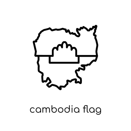 Cambodia flag icon. Trendy modern flat linear vector Cambodia flag icon on white background from thin line Country Flags collection, editable outline stroke vector illustration
