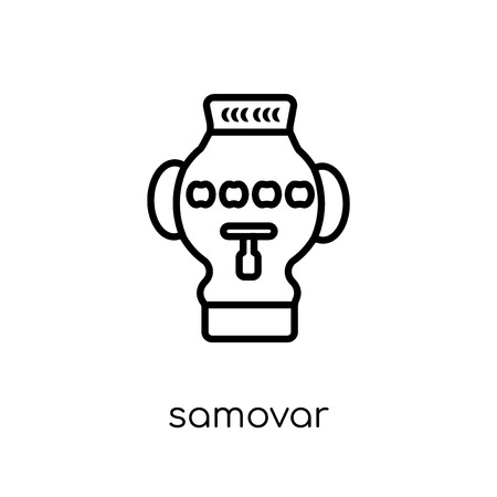 samovar icon. Trendy modern flat linear vector samovar icon on white background from thin line Russia collection, outline vector illustration 일러스트