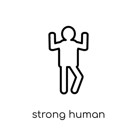 strong human icon. Trendy modern flat linear vector strong human icon on white background from thin line Feelings collection, editable outline stroke vector illustration