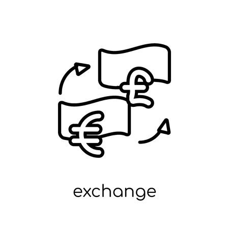 Exchange icon. Trendy modern flat linear vector Exchange icon on white background from thin line Cryptocurrency economy and finance collection, editable outline stroke vector illustration