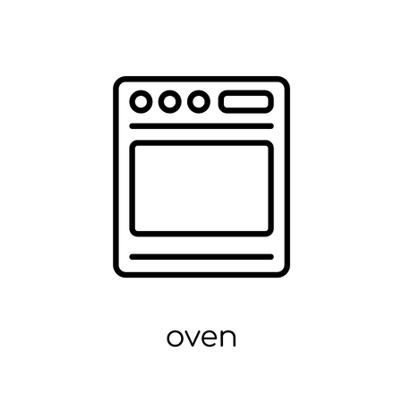 oven icon. Trendy modern flat linear vector oven icon on white background from thin line Electronic devices collection, outline vector illustration Vettoriali