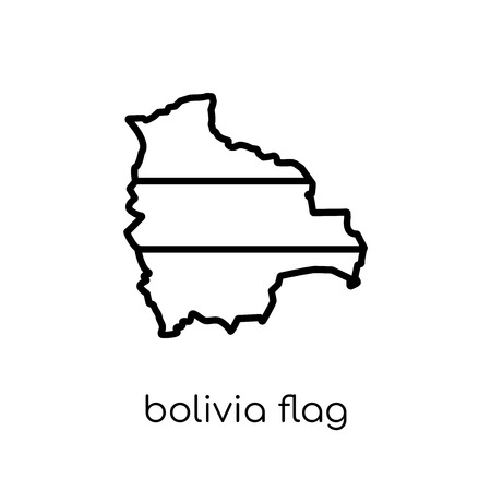 Bolivia flag icon. Trendy modern flat linear vector Bolivia flag icon on white background from thin line Country Flags collection, editable outline stroke vector illustration