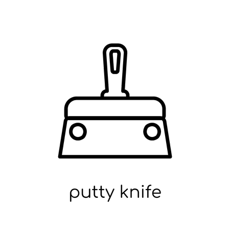 Putty knife icon. Trendy modern flat linear vector Putty knife icon on white background from thin line Construction collection, editable outline stroke vector illustration Фото со стока - 111336601
