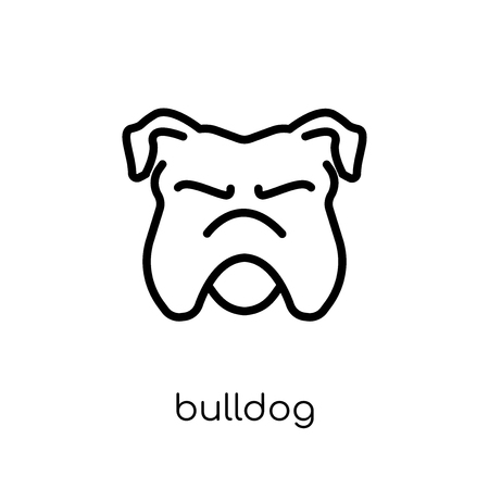 Bulldog icon. Trendy modern flat linear vector Bulldog icon on white background from thin line dogs collection, editable outline stroke vector illustration