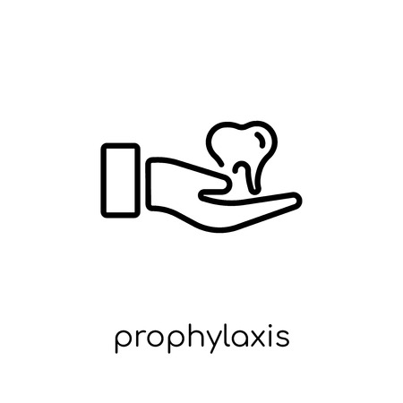 Prophylaxis icon. Trendy modern flat linear vector Prophylaxis icon on white background from thin line Dentist collection, editable outline stroke vector illustration