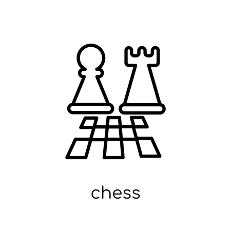 chess icon. Trendy modern flat linear vector chess icon on white background from thin line Arcade collection, outline vector illustration