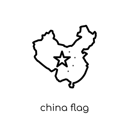 China flag icon. Trendy modern flat linear vector China flag icon on white background from thin line Country Flags collection, editable outline stroke vector illustration Banque d'images - 112235655
