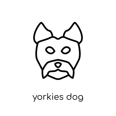 YORKIES dog icon. Trendy modern flat linear vector YORKIES dog icon on white background from thin line dogs collection, editable outline stroke vector illustration Illustration