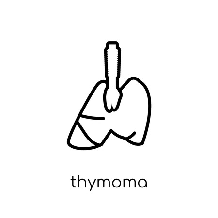 Thymoma icon. Trendy modern flat linear vector Thymoma icon on white background from thin line Diseases collection, editable outline stroke vector illustration Illustration