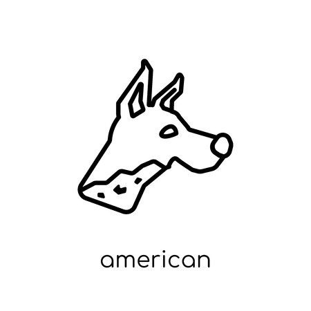 american hairless terrier dog icon. Trendy modern flat linear vector american hairless terrier dog icon on white background from thin line dogs collection, outline vector illustration Illustration