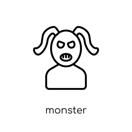 Monster icon. Trendy modern flat linear vector Monster icon on white background from thin line Fairy Tale collection, editable outline stroke vector illustration