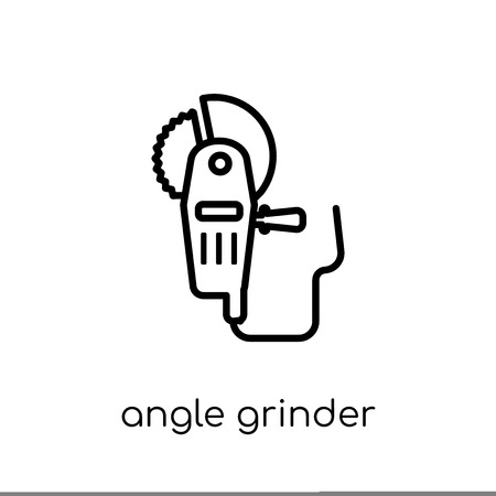 Angle grinder icon. Trendy modern flat linear vector Angle grinder icon on white background from thin line Construction collection, editable outline stroke vector illustration Archivio Fotografico - 111336703