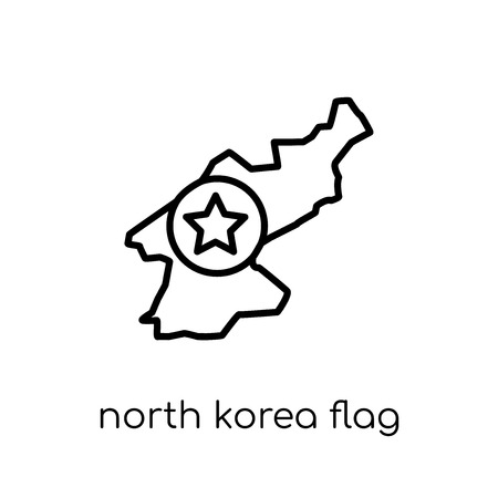 North Korea flag icon. Trendy modern flat linear vector North Korea flag icon on white background from thin line Country Flags collection, editable outline stroke vector illustration Stock fotó - 112235473