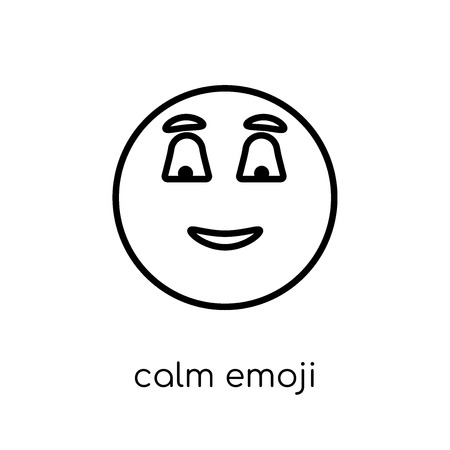 calm emoji icon. Trendy modern flat linear vector calm emoji icon on white background from thin line Emoji collection, outline vector illustration 向量圖像
