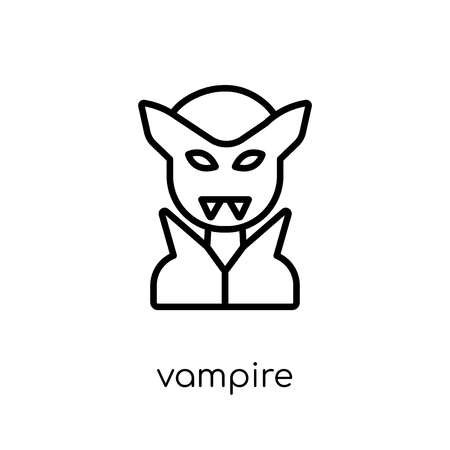 Vampire icon. Trendy modern flat linear vector Vampire icon on white background from thin line Fairy Tale collection, editable outline stroke vector illustration Banque d'images - 112235476