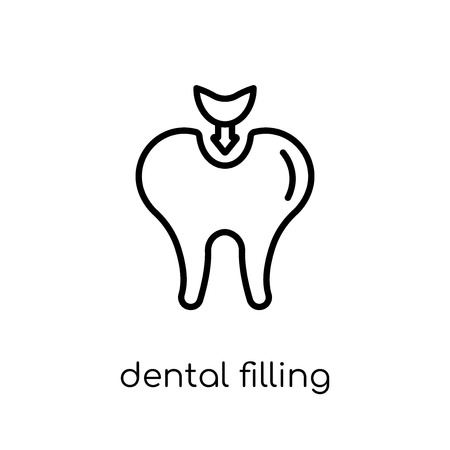 Dental filling icon. Trendy modern flat linear vector Dental filling icon on white background from thin line Dentist collection, editable outline stroke vector illustration