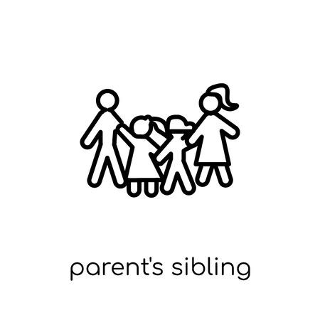 Geschwistersymbol der Eltern. Trendiges, modernes, flaches, lineares Vektor-Eltern-Geschwistersymbol auf weißem Hintergrund aus der Sammlung der dünnen Linie der Familienbeziehungen, bearbeitbare Umriss-Stroke-Vektorillustration Vektorgrafik