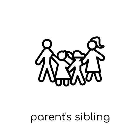 parent's sibling icon. Trendy modern flat linear vector parent's sibling icon on white background from thin line family relations collection, editable outline stroke vector illustration