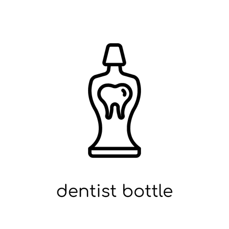 Dentist bottle with liquid icon. Trendy modern flat linear vector Dentist bottle with liquid icon on white background from thin line Dentist collection, editable outline stroke vector illustration