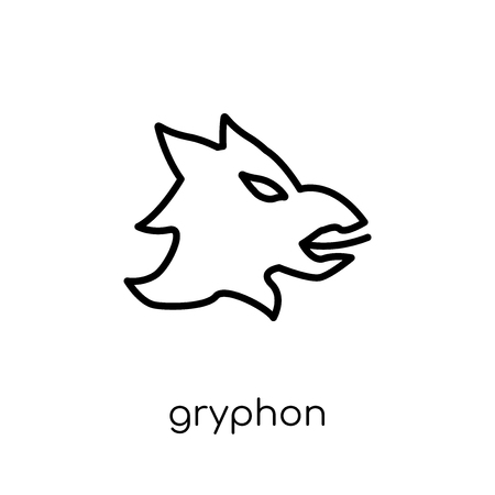 Gryphon icon. Trendy modern flat linear vector Gryphon icon on white background from thin line Fairy Tale collection, editable outline stroke vector illustration Illustration