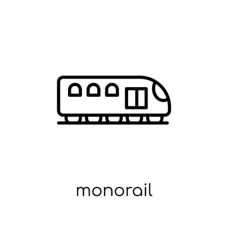 monorail icon. Trendy modern flat linear vector monorail icon on white background from thin line Transportation collection, outline vector illustration Illustration