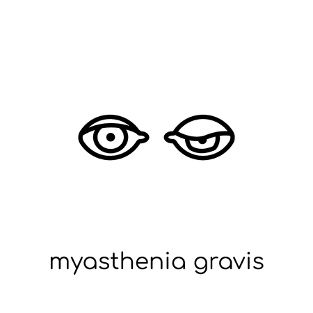Myasthenia gravis icon. Trendy modern flat linear vector Myasthenia gravis icon on white background from thin line Diseases collection, editable outline stroke vector illustration