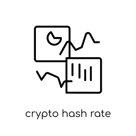 crypto hash rate icon. Trendy modern flat linear vector crypto hash rate icon on white background from thin line Cryptocurrency economy and finance collection, outline vector illustration