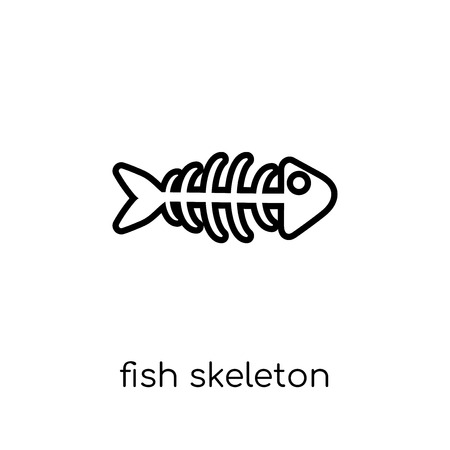 fish skeleton icon. Trendy modern flat linear vector fish skeleton icon on white background from thin line Drinks collection, outline vector illustration 矢量图像