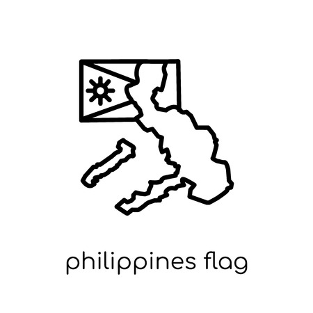Philippines flag icon. Trendy modern flat linear vector Philippines flag icon on white background from thin line Country Flags collection, editable outline stroke vector illustration Иллюстрация