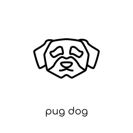 Pug dog icon. Trendy modern flat linear vector Pug dog icon on white background from thin line dogs collection, editable outline stroke vector illustration
