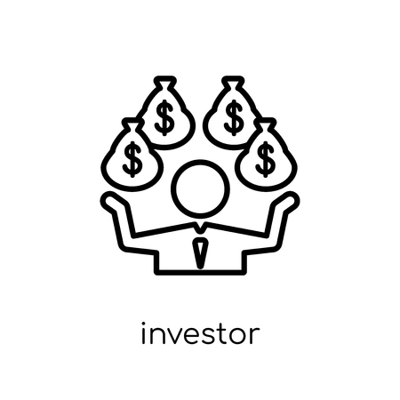 Investor icon. Trendy modern flat linear vector Investor icon on white background from thin line Cryptocurrency economy and finance collection, editable outline stroke vector illustration