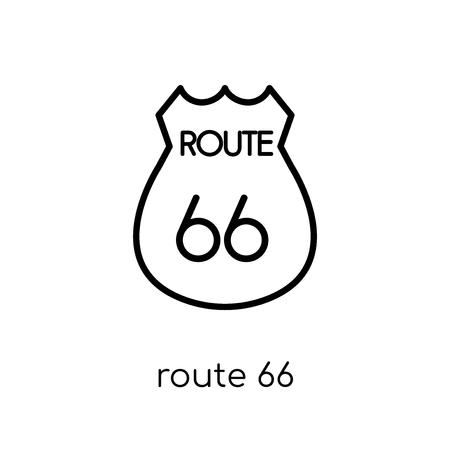 Route 66-Symbol. Trendiges modernes flaches lineares Vektor-Route-66-Symbol auf weißem Hintergrund aus dünner Linie Sammlung der Vereinigten Staaten von Amerika, bearbeitbare Umriss-Stroke-Vektorillustration