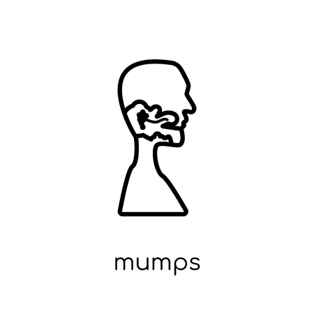 Mumps icon. Trendy modern flat linear vector Mumps icon on white background from thin line Diseases collection, editable outline stroke vector illustration Illustration