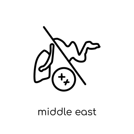 middle east respiratory syndrome (mers) icon. Trendy modern flat linear vector middle east respiratory syndrome (mers) icon on white background from thin line Diseases collection, outline vector illustration