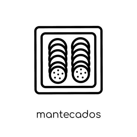 mantecados icon. Trendy modern flat linear vector mantecados icon on white background from thin line Spanish Food collection, outline vector illustration