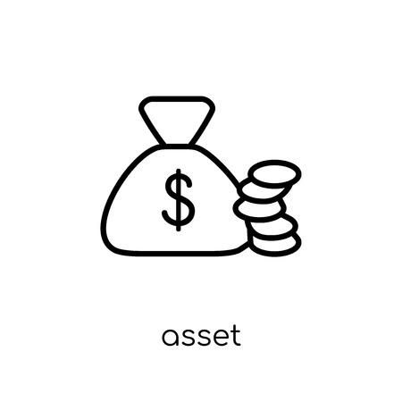 asset icon. Trendy modern flat linear vector asset icon on white background from thin line Cryptocurrency economy and finance collection, editable outline stroke vector illustration