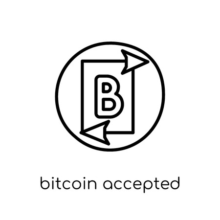 bitcoin accepted icon. Trendy modern flat linear vector bitcoin accepted icon on white background from thin line Cryptocurrency economy and finance collection, outline vector illustration Banque d'images - 112235236