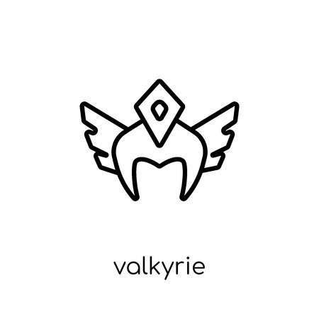 Valkyrie icon. Trendy modern flat linear vector Valkyrie icon on white background from thin line Fairy Tale collection, editable outline stroke vector illustration Illustration