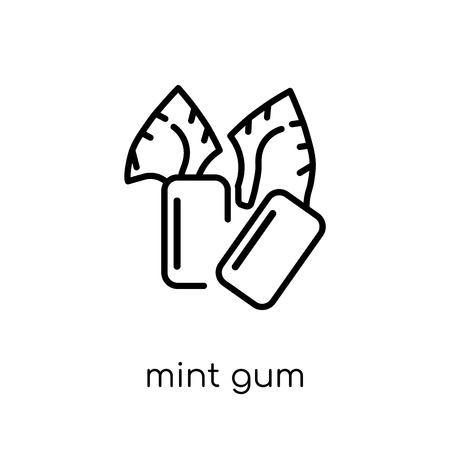 Mint gum icon. Trendy modern flat linear vector Mint gum icon on white background from thin line Dentist collection, editable outline stroke vector illustration